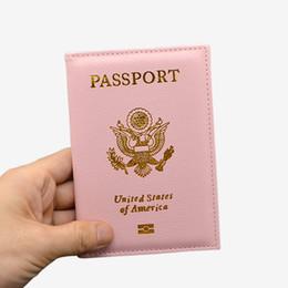Billetera pasaporte rosa online-Linda PU de cuero EE. UU. Pasaporte Funda Pink Women Passport Titular de la tarjeta Marca American Wallet Covers for Passport Girls America Pasaporte