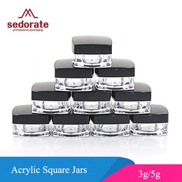 square 3g jars Coupons - Sedorate 50 pcs Lot Acrylic Jars For Cosmetic Refillable Bottle With Black Cap Square Cream Jars 3g 5g Case Container JX058-2