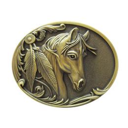 Hebillas de rodeo online-Nuevo Vintage Plateado Bronce Rodeo Cabeza de caballo Oval occidental Hebilla de cinturón Gurtelschnalle Boucle de ceinture