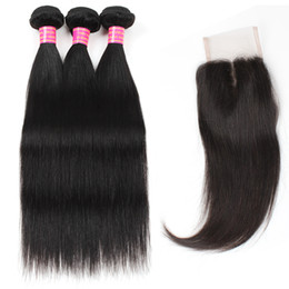 weave bundles three part closure Promo Codes - Wholesale Good Cheap 8A Mink Brazilian Peruvian Malaysian Virgin Straight Hair 3 Bundles With 4*4 Lace Closure Free Middle Three Part