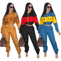 jaquetas curtas Desconto Mulheres blusão casaco curto trench coat calças 2 peça set vento agasalho colheita top jaqueta calças sportswear lady fall outfits