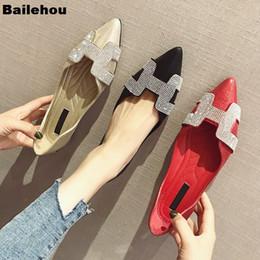 2020 zapatos de bailarina de las señoras Zapatos de ballet planos de las mujeres de cristal de cristal en punta zapatos de los planos del dedo del pie elegante cómoda señora Shiny deslizamiento en holgazán bailarina suave zapatos de bailarina de las señoras baratos