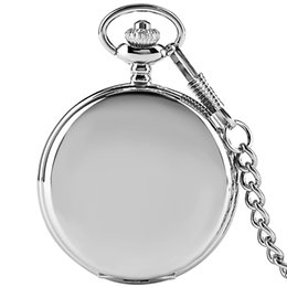Wholesale Silver Quartz Pocket Watch - Hot Sale Silver Smooth Face Retro Fob Quartz Pocket Watch Analog Dial with Pendant Chain Full Hunter Clock Gifts for Men Women