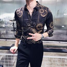 Botón de camisa de manga larga negro online-Gold Black Shirt Men 2018 New Autumn Long Sleeve Button Down Party Club Shirt Men Designer Camisa Masculina Casual 3xl