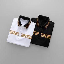 Wholesale Designer Men S T Shirt - Men's Polos Short-Sleeves Letter Vers embroidery designer 3D Brand Luxury polo short T-shirts Tees Shirt for man Slim Black white M-3XL