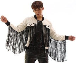 Wholesale sleeveless coats for men - Male PU leather costumes jacket Tassels outfit blazer fashion coat cool show for stage nightclub bra singer performance wear