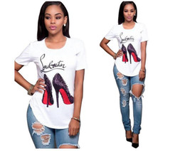 2018 New Women Short sleeves Shoes Print T Shirt Cross Border For European Round Neck Fashion Personality Printing T Pity