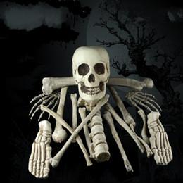 deshuesado de plástico Rebajas Extraíble Halloween Scary Skull Haunted Party Escena Props Decoración Broken Bone Plastic Creativo Simulación Esqueleto Prop Popular 49ml jj