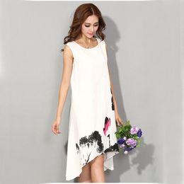 Wholesale Plus Size Chinese Dresses Clothing - M - 6XL Summer Dress 2018 New Vestido Casual Dresses Women Chinese Linen Vintage Dress Ladies Sundress Plus Size Women Clothing