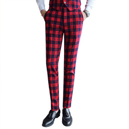 Wholesale mens checked suits - Vintage Men's Plaid Pants Casual Men Classic Pants Check Suit Trousers White Red British Style Mens Dress Pants Korean Slim Fit