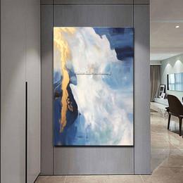 Acrílico pintura paisajes marinos online-Pintura en lienzo cuadros decoracion Paisaje marino acrílico azul oro pinturas al óleo nórdicas Arte de la pared Imágenes para sala de estar decoración para el hogar83