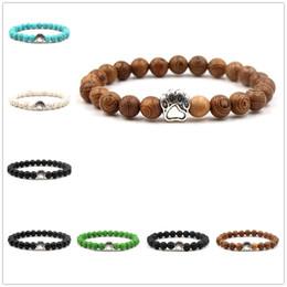 2020 bracelet de charme parfum 8mm Black Lava Stone Huile Essentielle Bracelets De Parfum Perles De Pierre Naturelle Paw Charms Bracelet Bijoux promotion bracelet de charme parfum