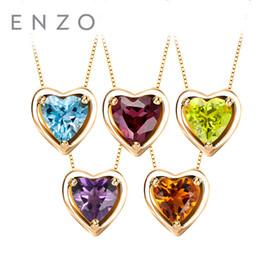 Oro bianco collana di granato ciondolo online-ENZO Charm Pendant Birth Stone a forma di cuore 0.66 Ct granato reale 18K oro bianco ciondolo regalo per le donne Bracciale collana adatta