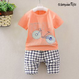 Wholesale Bicycle Print Shirt - Bicycle Print Tee Kids Toddler Clothes Children Short t shirt + Pants Baby Boy Clothes Summer 2017 New Cotton Baby Clothing Set
