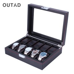 wooden case pattern Promo Codes - OUTAD 10 Grids Wooden Watch Box Carbon Fibre Pattern Watch Storage Box Display Slot Case