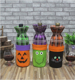 Botella de vino rojo de Halloween Bolsa de tela con dibujos animados creativo Calabaza Bruja Gato negro Decoración Botella de champán Bolsas con cierre de cordón desde fabricantes