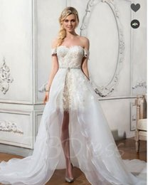 Wholesale Organza Brooch - Latest Wedding Dresses Appliques Beaded Removable Skirt Wedding Dress