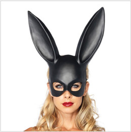 masquerade costumes for women halloween Coupons - Women Sexy Rabbit Ears Mask Cute Bunny Long Ears Bondage Mask Halloween Masquerade Party Cosplay Costume Props