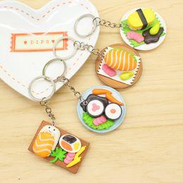 Wholesale japanese girl keychain - Cute Simulation Sushi Keychains Japanese Food Box Keyring Lanyard Keychain Handbag Pendant Key Ring Funny Toys Mix Styles Free DHL H443R