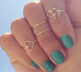 Wholesale Trendy Antique Ring - 3pcs set Simple Bohemian Ethnic Ring Antique Gold With Rhinestone Geometric Heart Leaf Flower Knuckle Midi Rings Set Cheap Sale