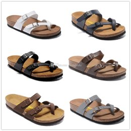 Wholesale hot aa - 8color Mayari Arizona Gizeh 2017 Hot sell summer Men Women flats sandals Cork slippers casual shoes Pink Black White Brown colors size 34-46