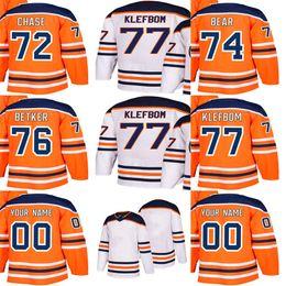 caa55aa5e Cheap Customized Mens Womens Kids Edmonton Oilers 72 Gregory Chase 74 Ethan  Bear 76 Ben Betker 77 Oscar Klefbom Stitched Ice Hockey Jerseys