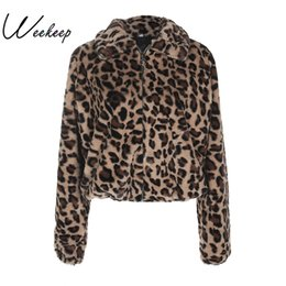Wholesale Down Jacket Leopard - Wholesale-Weekeep 2017 Winter New Women Warm Leopard Coats And Jackets Fashion Casual Turn-Down Collar Zipper Jacket Casaco Feminino Tops