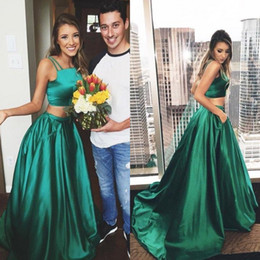 Wholesale Emerald Taffeta - 2018 Model 2 Piece Evening Dresses Double Spaghetti Straps Crop Top Emerald Green Satin Two Piece Prom Dress with Pockets