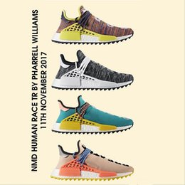Wholesale Ink Cheap - Cheap NMD Human Race Hu trail Running Shoes Men Women Pharrell Williams NMD Yellow noble ink core Black Red Runner Boost Sneaker Shoes