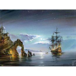 Sin marco del barco de vela del paisaje marino Diy pintura por números de acrílico imagen del arte de la pared pintada a mano pintura al óleo para el regalo de la sala de estar desde fabricantes