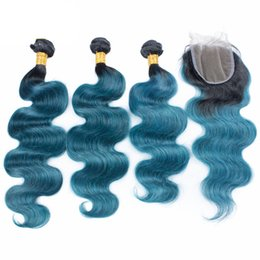 Wholesale Blue Human Weave - Ombre Colored Brazilian Body Wave 3Bundles With lace Cloure 4x4 Dark Roots 1B Blue Human Hair Wefts With Closure With Baby Hair