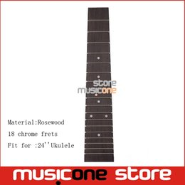 Wholesale Guitar Dot Inlay - 24 Inch Rosewood Ukulele Fretboard 18 Fret Ukulele Neck Finger board with 4mm White Dot Inlay for Uk guitar Replacement