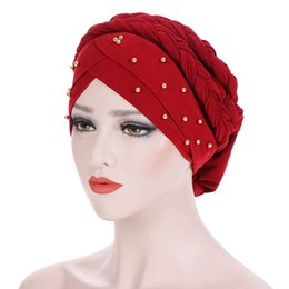 2019 mütze für muslimische frauen Herbst Winter warme Frauen Kopftuch Muslim Stretch Turban Hut Milch Seide Braid Wrap Hijab Cap Chemo Cap Haarausfall Kopftuch rabatt mütze für muslimische frauen