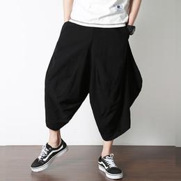 pantalones anchos de algodón para hombres Rebajas Hombres Joggers Algodón  Lino Pierna ancha Pantalones Harén Nabo 5da7081fc695