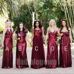Wholesale Sequin Dress Wedding Guest - Bridesmaid Dresses 2018 Burgundy Sparkle Sequined Long Maid Of Honor Gowns Custom Made Beach Wedding Party Guest Dresses Vintage Gowns