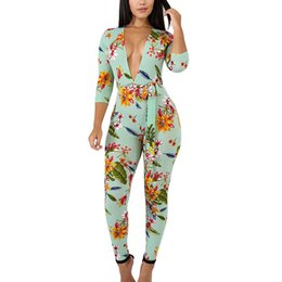 52ecd3ae9a54 Sexy New Style 2018 Flower Print Romper Playsuit Deep V-Neck Three Quarter  Bodycon Cotton Green Romper Womens Jumpsuit ZS445
