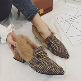 Wholesale Women Wearing Fur Heels - 2018 Pointed Toe Wedding Shoes Bride Faux Fur Warm Shoe Casual Wear Winter Supplies For Women