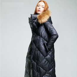 Wholesale womens jackets real fur - womens quilted jackets with fur hood women winter 2016 with real fur hooded long puffer jacket hood coat white russian