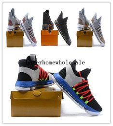 Wholesale Platform Oxford Flats - Zoom KD 10 Anniversary PE BHM Oreo triple black Men Basketball Shoes KD 10 Elite Low Kevin Durant Athletic Sport Sneakers Handmade Shoes