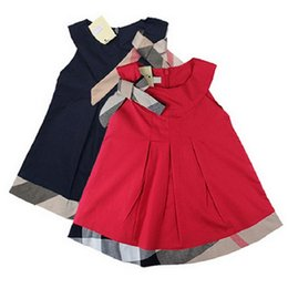 Wholesale Cute Babies Pink Dress - Wholesale- Cute Baby Girls' Tank Dress Long Summer Style One-piece 4 Colours with Sashes Belt Tie
