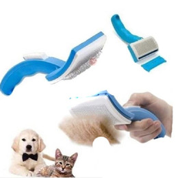 Wholesale Fur Pets - Pet Comb Clean Shedding Tool Fine Hair Trimmer Attachment Brush Dog Cat Self Cleaning Grooming Her Fur Comfortable GI670996