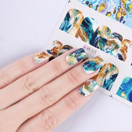 Wholesale image stickers - High Quality transfer New Gradient Marble 12 Designs Art Sticker Fashion Full Cover Image Decals Nail Transfer Water Foils Beauty