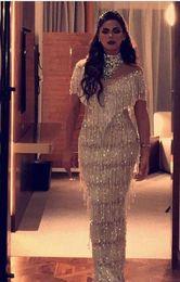 Wholesale Evening Dresses Kim Kardashian - Evening dress Yousef aljasmi Short sleeve High collar Crystal Tassels Sheath Long dress kim kardashian