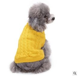 Wholesale Knit Cable Sweater - Pet Warm Cable- Knit Sweater Supplies Rabbit Clothing Puppy Dog Sweater Teddy Poodle Kitten Warm Clothes Small Cat Sweater Vests 4 Sizes