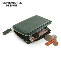 Wholesale Small Leather Pocket Change Holder - Wholesale- Coin Purses genuine leather women's mini purse small Change Zipper wallet Coin Pouch bag male wallets Card Holder Simple Pocket