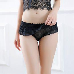 Wholesale Woman Satin Thong - Transparent Bikini Panties Sexy Underwear Women Erotic Lingerie Satin Lace G String Thong Ruffle Calcinha Tanga Bragas 2613