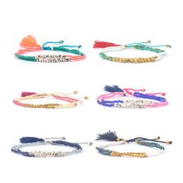 Wholesale gold multicolor rings - Adjustable Beaded Bracelets Bohemia Tassel Strands for Children Handmade Multicolor Statement Friendship Bracelets Adjustable Women Bracelet