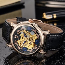 Wholesale Vintage Male Watches - vintage OUYAWEI Royal Diamond Design Black Gold Montre Homme Mens Watches Top Brand Luxury Relogio Male Skeleton Mechanical Watch