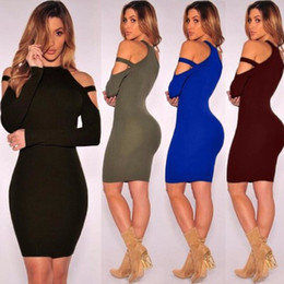 Wholesale Long Sleeved Pencil Dresses - Women Sexy Halter Dress Off Shoulder Pencil Dress Knee Length Long Sleeved Women's Casual Bodycon Night Club Dresses