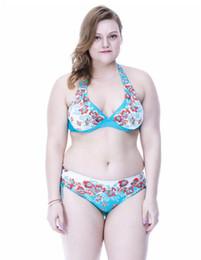 41b66f11599 Large Cup Bikini Set European And American Swimwear Printed Flower Padded  Underwire Plus Size Hot Spring Bathing Suit 4XL~8XL